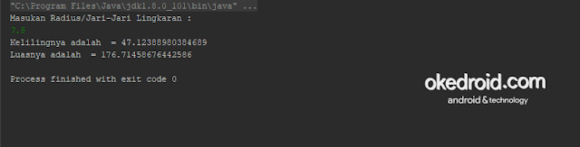 Output Hasil Contoh Code Menghitung dan Mencari Luas dan Keliling Lingkaran di Java