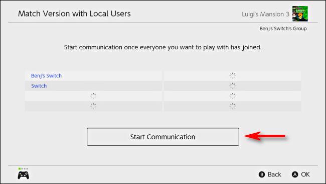 حدد بدء الاتصال على Nintendo Switch