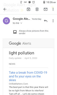 light pollution email from Google