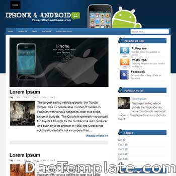 Iphone And Android blogger template. blogger template 3 column footer. template blogspot 3 column footer