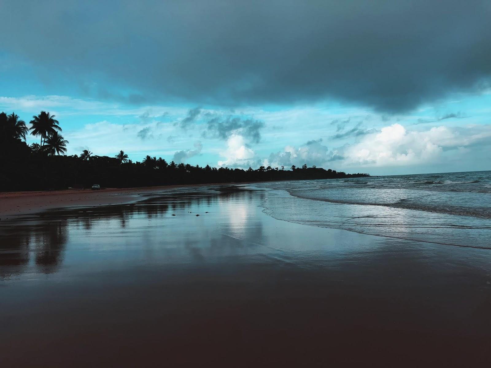 Plaża w Mission Beach w porach wieczornych. Po lewej stronie rozpościerają się australisjkie palmy w cieniu, wychodzące aż na piasek. Po prawej stronie, Morze Koralowe z Wielką Rafą Koralawą napływa spokojnymi falami na piasek.