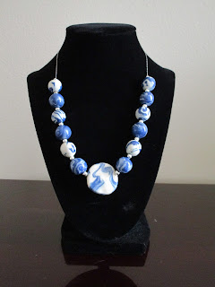 Blue and white marbled polymer clay bead necklace