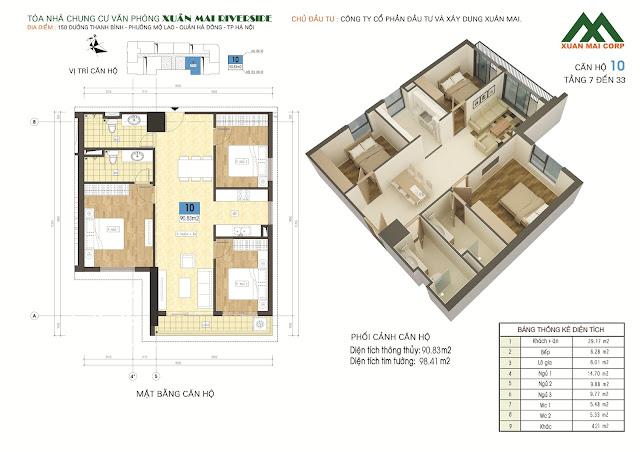 Thiết kế căn hộ 10 - dt 90m Xuân Mai Riverside