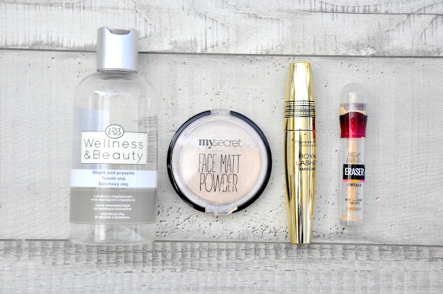 olejek do mycia gąbek wellness&beauty, puder wypiekany my secret face matt powder, tusz do rzęs pierre rene royal lashes mascara, korektor maybelline instant anti-age the eraser eye