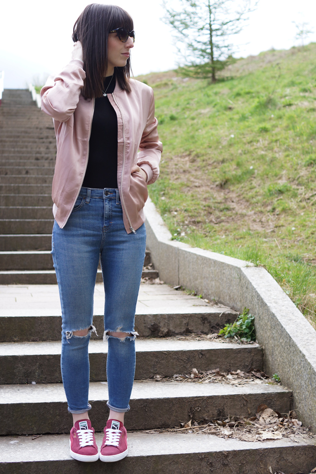 Hello Freckles Pink Satin Bomber Bodysuit Ripped Jeans