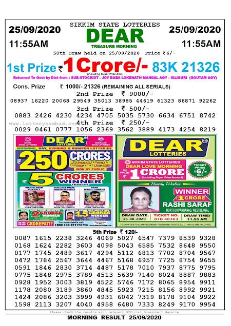 Lottery Sambad Today 25.09.2020 Dear Treasure Morning 11:55 am