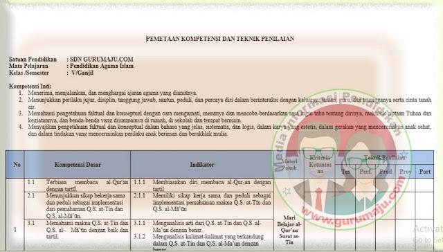Pemetaan KD PAI Kelas 5 Kurikulum 2013 Revisi 2021 Semester 1