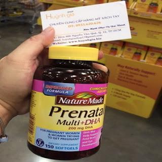 Vitamin tổng hợp cho bà bầu Nature Made Prenatal Multi + DHA mua tại Mỹ