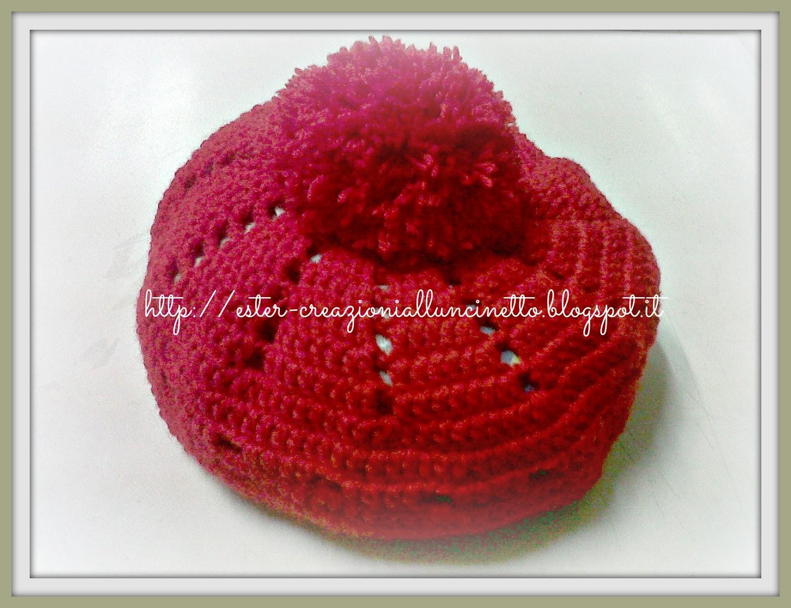 I miei lavori all uncinetto  Cappello rosso da donna tutorial 18cfd232f8b6