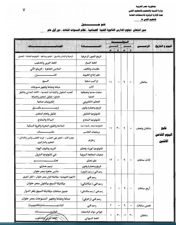 جدول مواعيد امتحانات الدبلومات الفنية 2018 (تجارى،صناعى، زراعى، وفندقى)