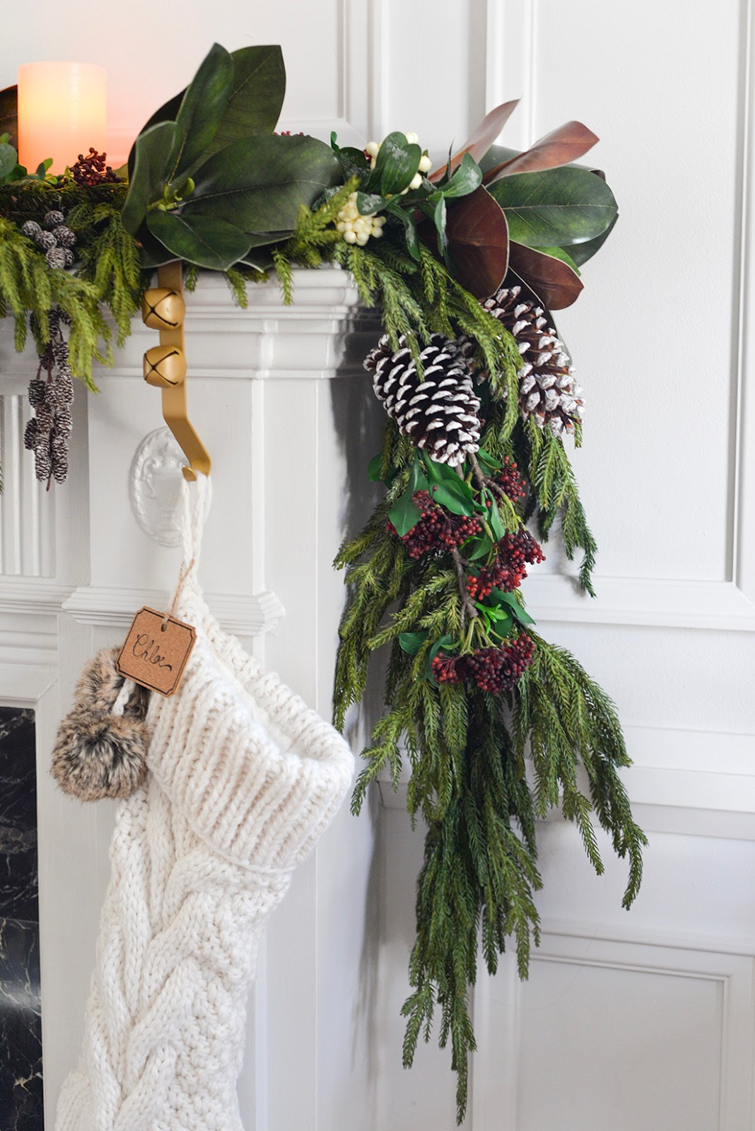 christmas fireplace mantel garland, christmas fireplace mantle garland, faux garland, cedar garland, cable knit stocking
