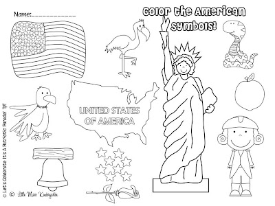 Little miss kindergarten lessons from the little red for Symbols of the usa coloring pages