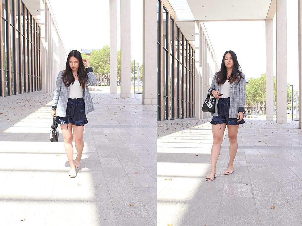 NA-KD Blazer mit Mango Satin Shorts