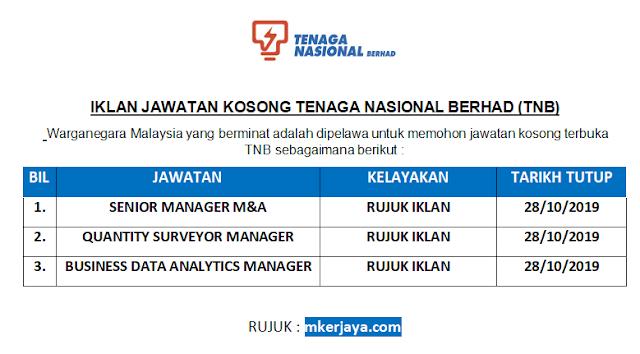 Iklan Jawatan Kosong Tenaga Nasional Berhad Pelbagai Jawatan Dibuka Sehingga 28 Oktober 2019 Malaysia Kerjaya