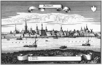 Düsseldorf um 1647 - Matthäus Merian d. Ä.: Ansicht der Stadt Düsseldorf
