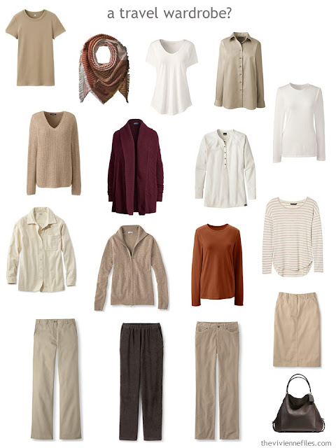 a travel capsule wardrobe in soft, warm neutral with autumn-colored accents