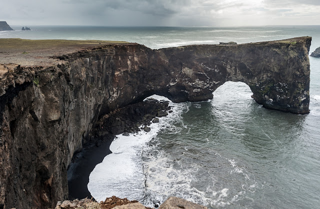 Dyrhólaey peninsula and rock arch close to the lighthouse