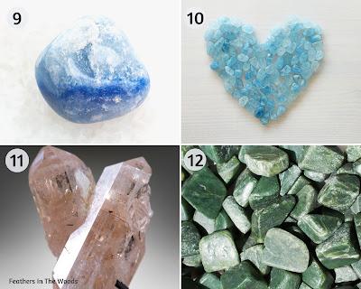 Blue Agate, Aquamarine, Topaz and jade natural healing crystals.