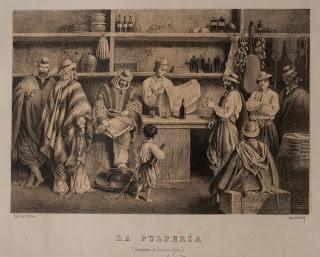 La pulpería, litografía de Juan León Palière