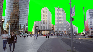 Buildings of Berlin provide a skyline for this free green screen effect. effect.