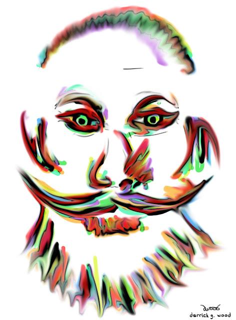 beard self portrait derrick g wood art rainbow smear pastel