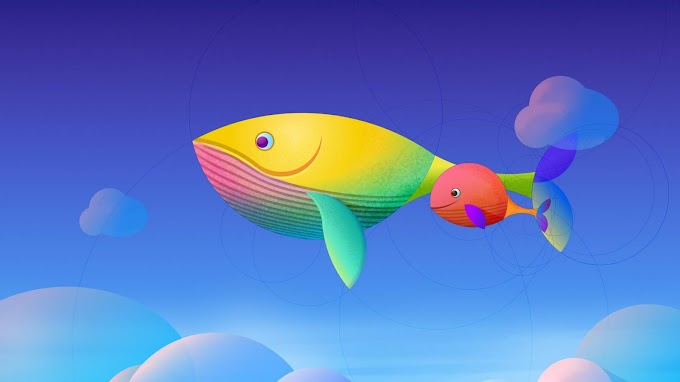 Papel de Parede Infantil Baleias Coloridas