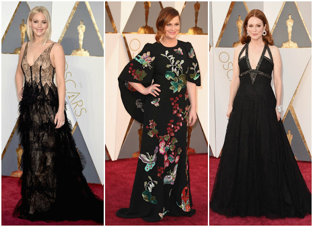 jennifer lawrence, amy poehler, julianne moore, black trend, red carpet, 2016 oscars, academy awards