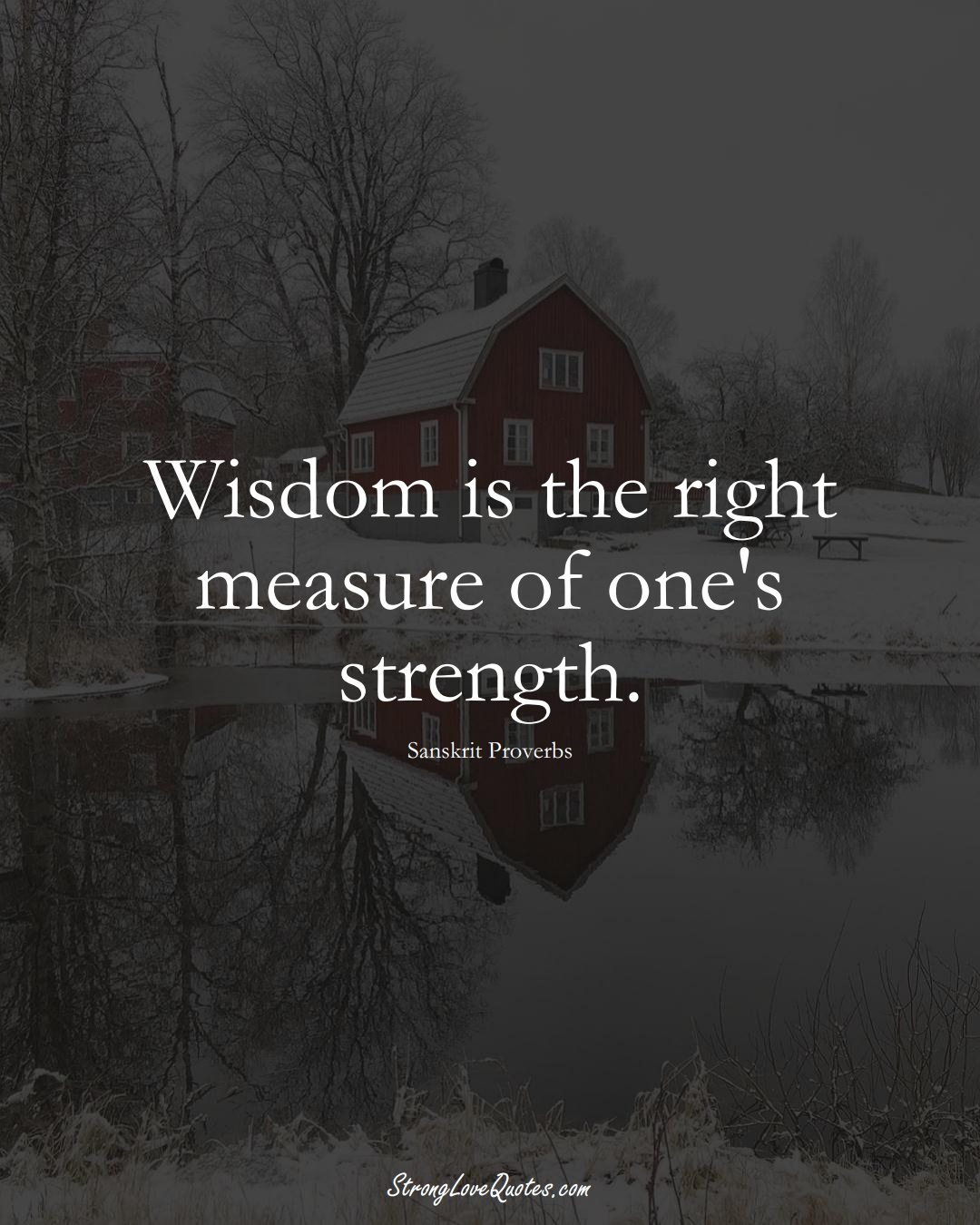 Wisdom is the right measure of one's strength. (Sanskrit Sayings);  #aVarietyofCulturesSayings