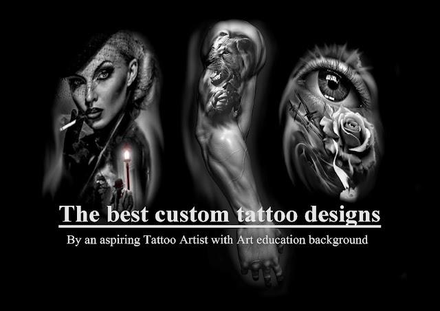 Professional custom realism tattoo design - trident tattoo poseidon - crucifix tattoo