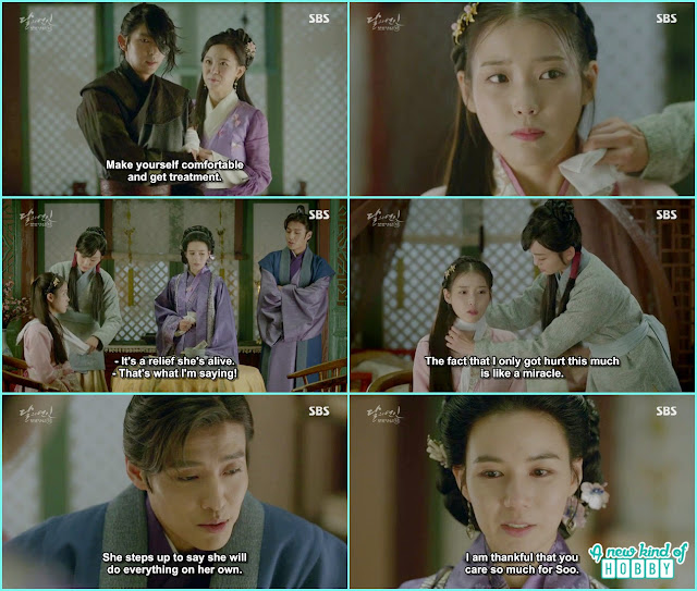 yeon hwa gave medical aid to 4th prince and princes myuen hee scold hae so that every one worried about her  - Moon Lovers: Scarlet Heart Ryeo - Episode 3 Review