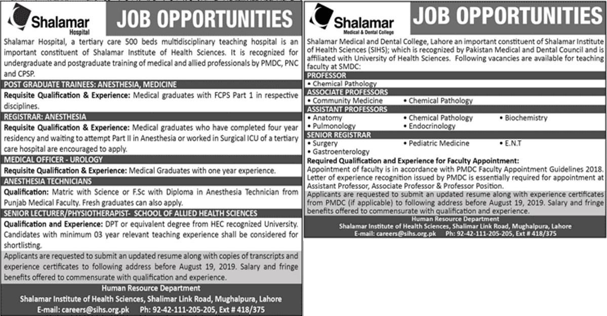 Shalamar Hospital Lahore Jobs 16 Aug 2019