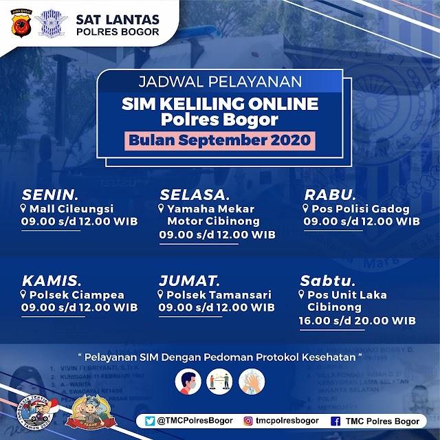 Lokasi SIM Keliling Polres Bogor Bulan September 2020