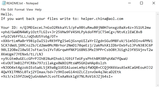CNH Ransomware Ransom note