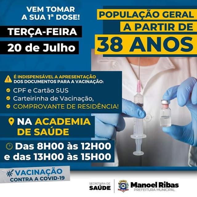 Covid: Pessoas a partir de 38 anos já podem se vacinar em Manoel Ribas
