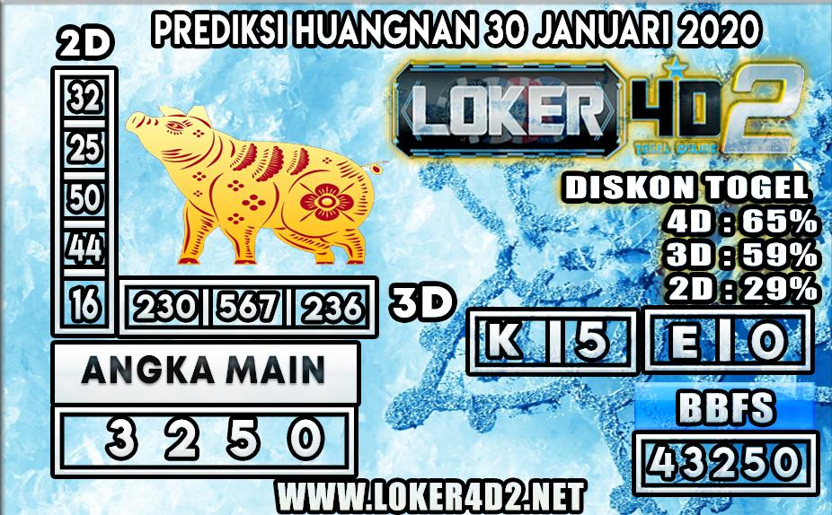 PREDIKSI TOGEL HUANGNAN  LOKER4D2 30 JANUARI 2020