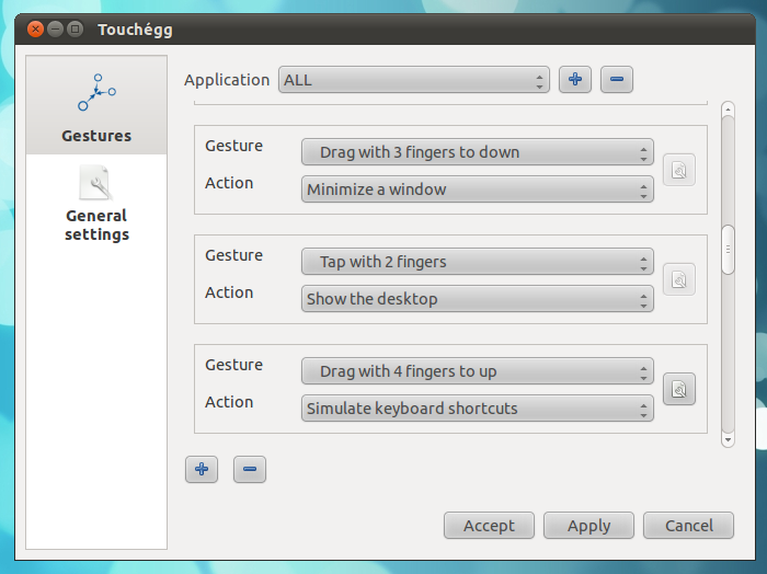 Advanced Multi Touch Gesture Recognizer for Ubuntu: Touchégg