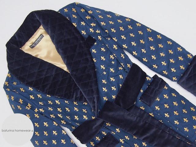 mens smoking jacket warm quilted dark blue gold velvet silk robe gentleman cigar smoker robes dressing gown english style traditional