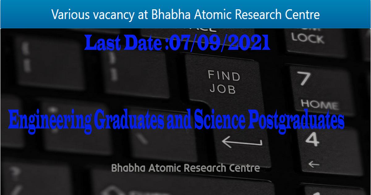 BARC Scientific Officers Recruitment 2021