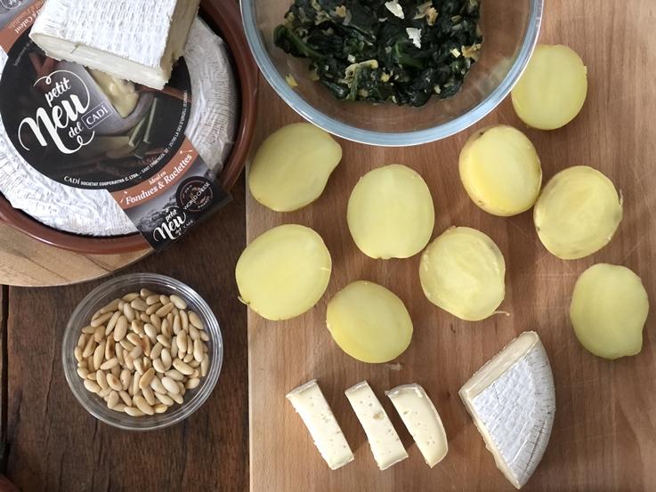 Patatas rellenas de espinacas y queso