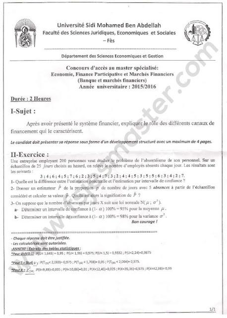 Exemple Concours d'accès au Master Economie Finance Participative et Marchés Financiers (Banques et Marchés Financiers) 2015-2016 - Fsjes Fès