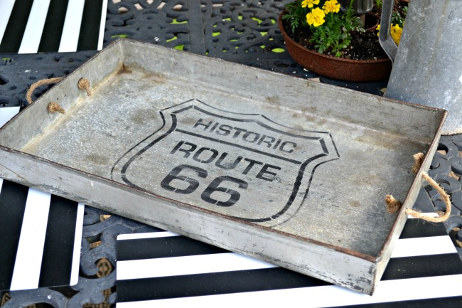 DIY industrial tray with rope handles and a stencil