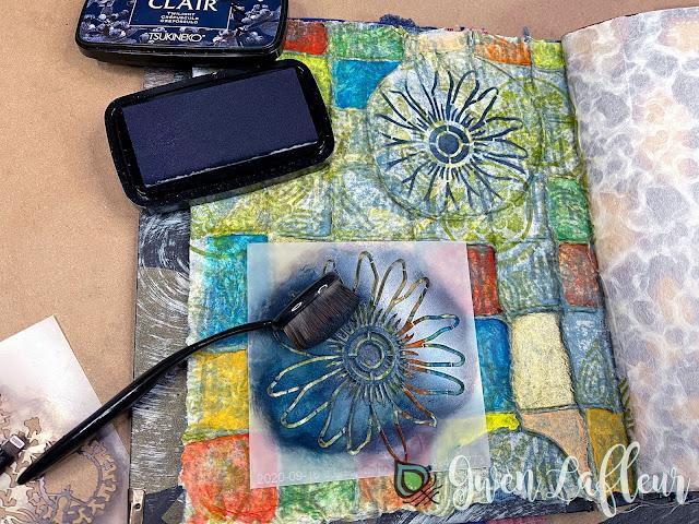 Textural Art Journaling with Stencils - Tutorial Step 6 - Gwen Lafleur