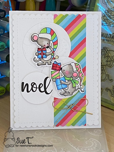 Noel by Sue T. features Naughty or Mice and Frames & Flags by Newton's Nook Designs; #newtonsnook, #christmas, #cardmaking