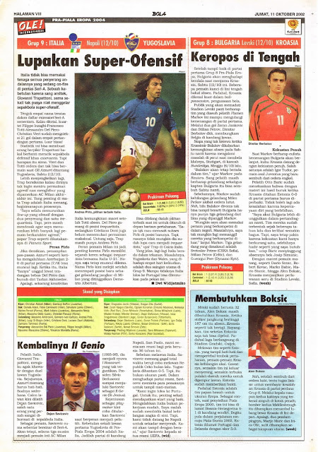 PRA-PIALA EROPA 2004: GRUP 9 ITALIA VS YUGOSLAVIA