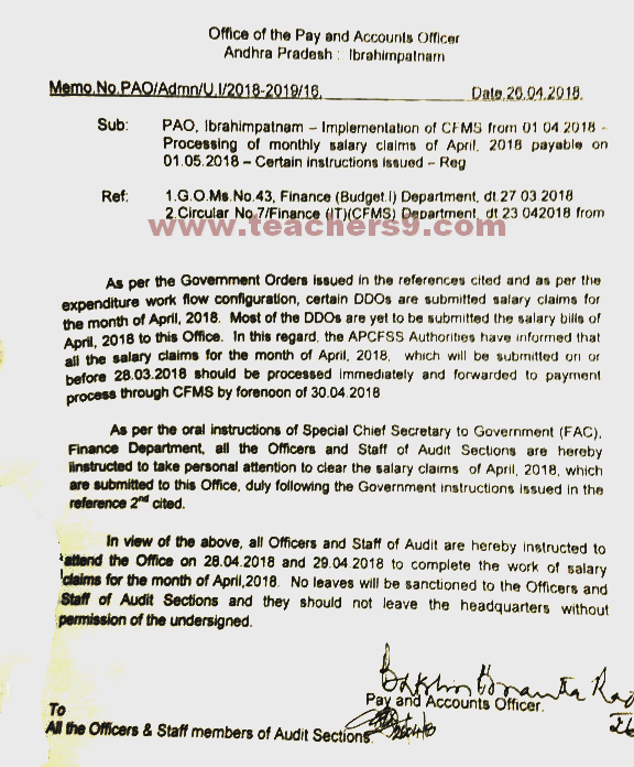 Employs Salary bill clarification for April, 2018 in CFMS by Treasury Pay and Accounts Officer
