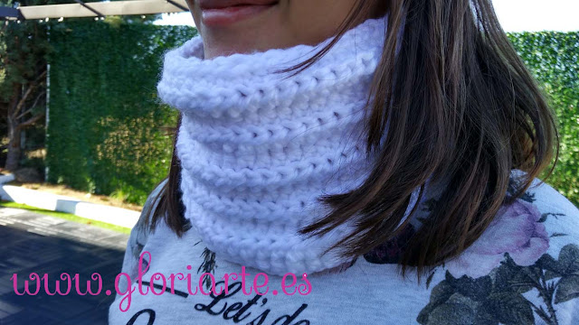 protegete del frío con este bonito cuello de ganchillo