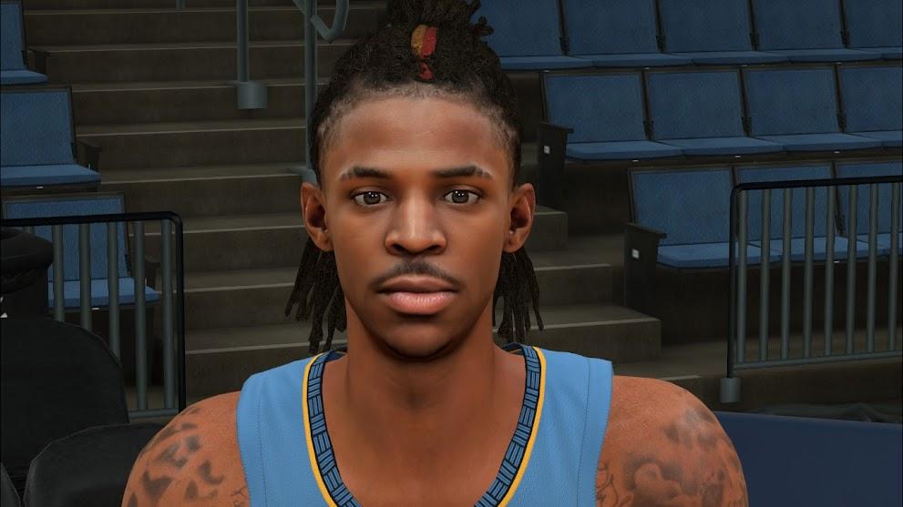 NBA 2K22 Ja Morant Cyberface, Hair and BOdy Model by VinDragon