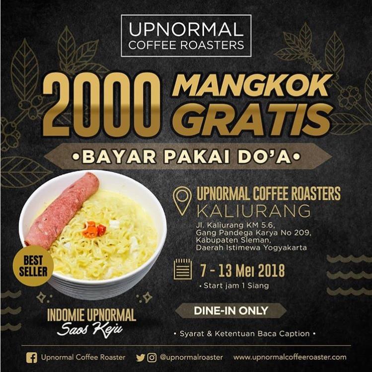 Makan Gratis Di Warunk Upnormal Yogyakarta 7 - 13 Mei 2018