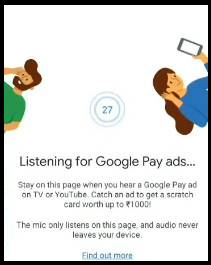 Google Pay On Air Offer - Watch & Listen Google Pay Ads & Get Scratch Card worth Of ₹1000
