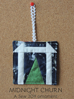 sewjoycreations midnight churn pieced ornament
